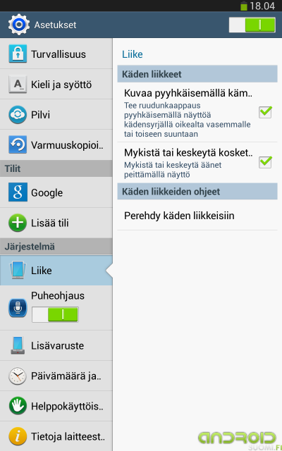 """Galaxy Tab 3 8"""" asetukset 2"""