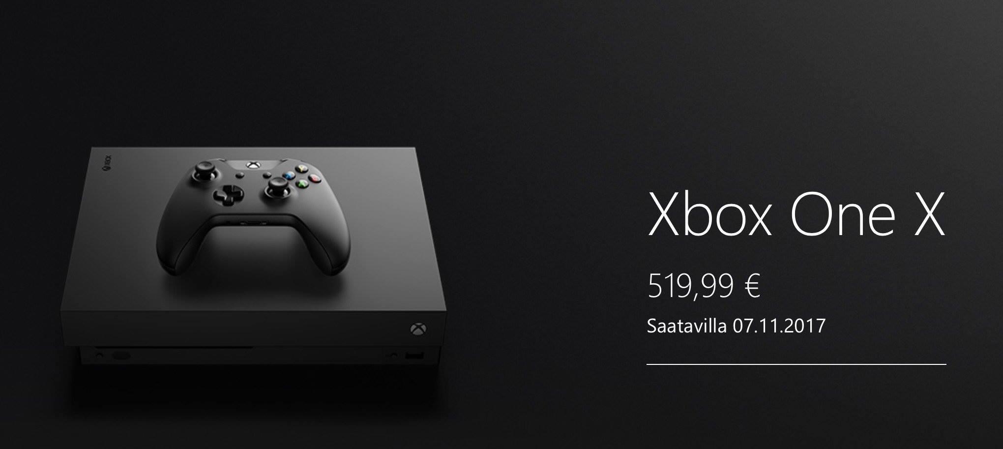 Xbox One X myyntiin marraskuussa hintaan 519,99€